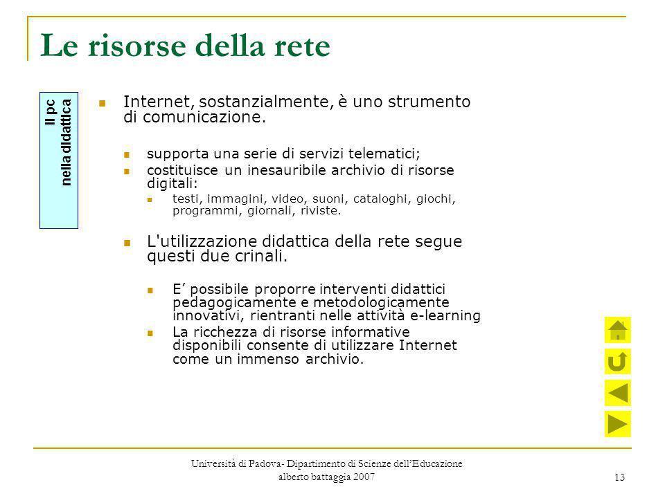 13 Le risorse della rete Internet, sostanzialmente, è uno strumento di comunicazione. supporta una serie di servizi telematici; costituisce un inesaur