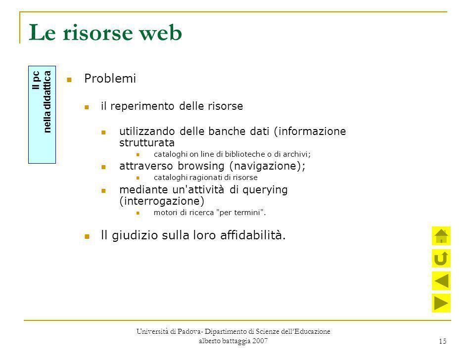 15 Le risorse web Problemi il reperimento delle risorse utilizzando delle banche dati (informazione strutturata cataloghi on line di biblioteche o di