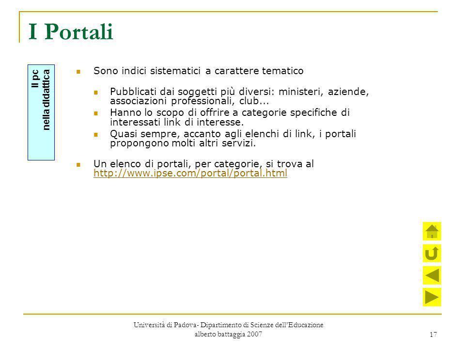 17 I Portali Sono indici sistematici a carattere tematico Pubblicati dai soggetti più diversi: ministeri, aziende, associazioni professionali, club...