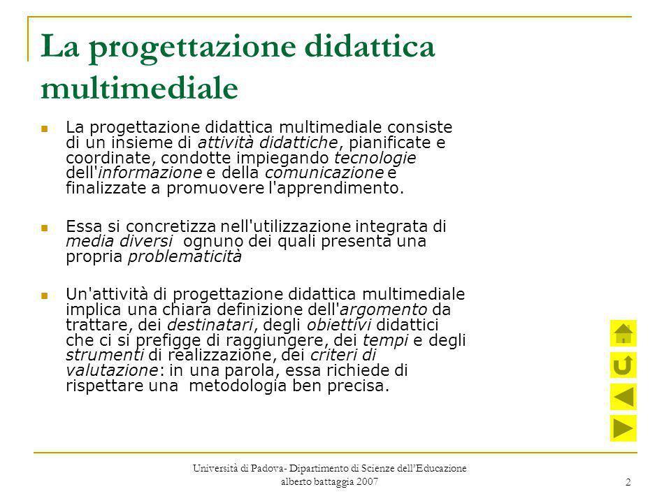 2 La progettazione didattica multimediale La progettazione didattica multimediale consiste di un insieme di attività didattiche, pianificate e coordin
