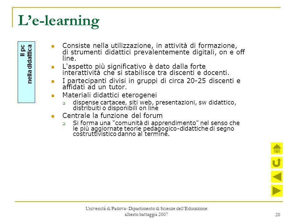 20 L'e-learning Consiste nella utilizzazione, in attività di formazione, di strumenti didattici prevalentemente digitali, on e off line. L'aspetto più