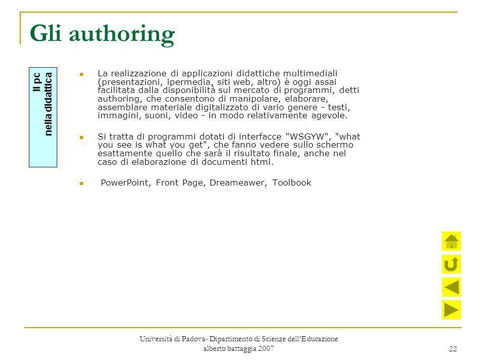 22 Gli authoring La realizzazione di applicazioni didattiche multimediali (presentazioni, ipermedia, siti web, altro) è oggi assai facilitata dalla di