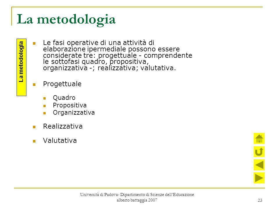 23 La metodologia Le fasi operative di una attività di elaborazione ipermediale possono essere considerate tre: progettuale - comprendente le sottofas