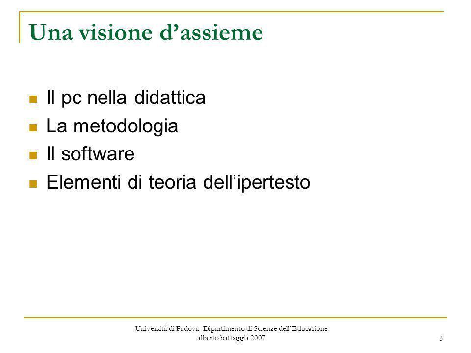 3 Una visione d'assieme Il pc nella didattica La metodologia Il software Elementi di teoria dell'ipertesto Università di Padova- Dipartimento di Scien