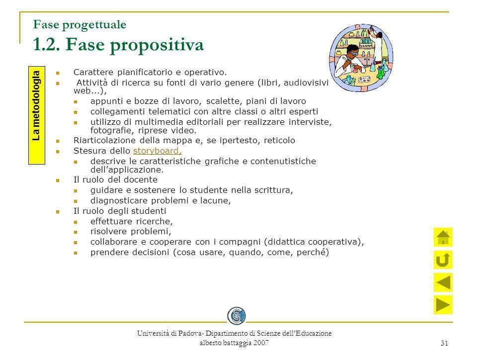 31 Fase progettuale 1.2. Fase propositiva Carattere pianificatorio e operativo. Attività di ricerca su fonti di vario genere (libri, audiovisivi, cd r
