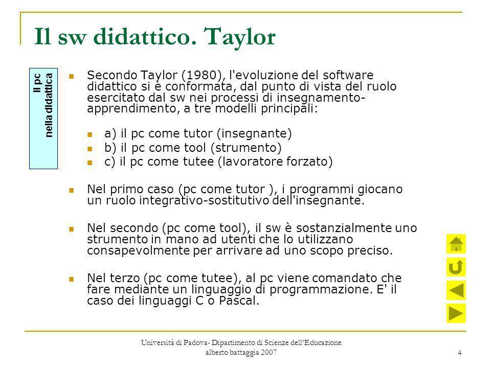 4 Il sw didattico. Taylor Secondo Taylor (1980), l'evoluzione del software didattico si è conformata, dal punto di vista del ruolo esercitato dal sw n