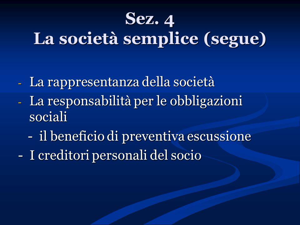Sez. 4 La società semplice (segue) - La rappresentanza della società - La responsabilità per le obbligazioni sociali - il beneficio di preventiva escu
