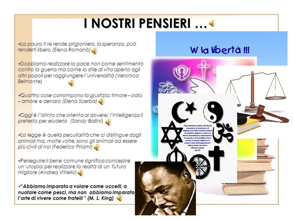 I NOSTRI PENSIERI … La paura ti re rende prigioniero, la speranza, può renderti libero (Elena Romanò) La paura ti re rende prigioniero, la speranza, p