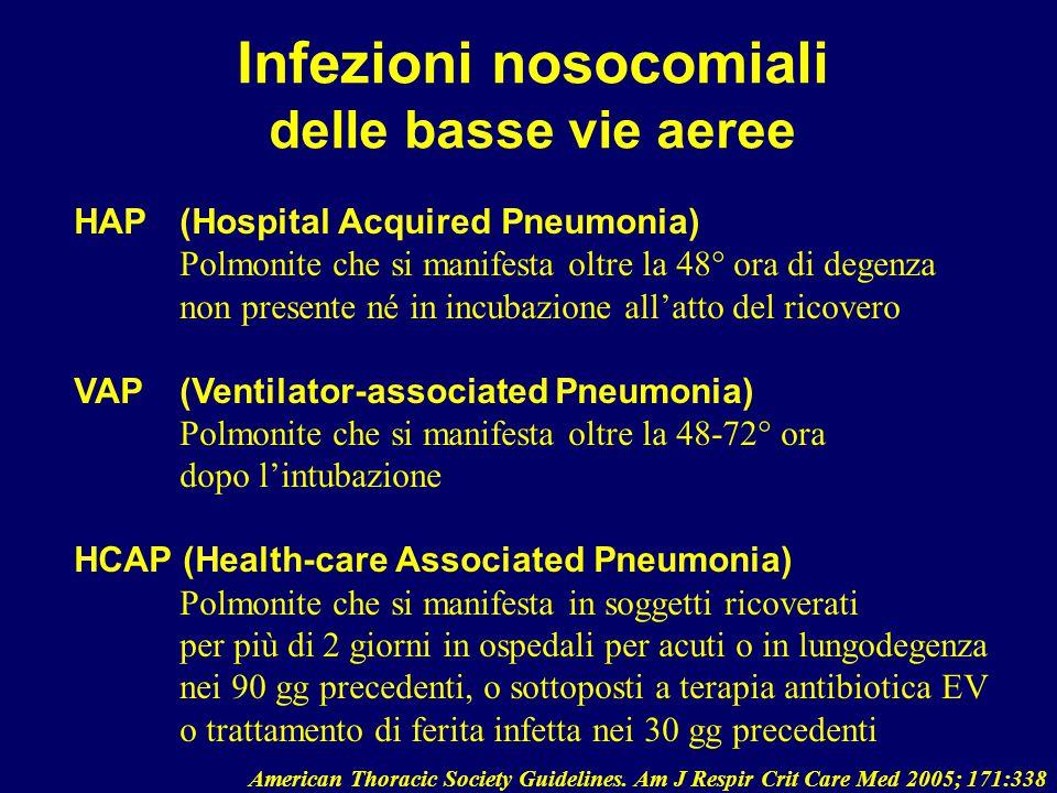 Infezioni nosocomiali delle basse vie aeree HAP (Hospital Acquired Pneumonia) Polmonite che si manifesta oltre la 48° ora di degenza non presente né i
