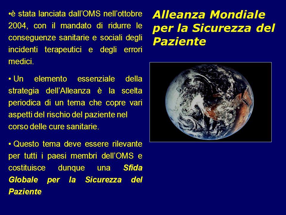 Alleanza Mondiale per la Sicurezza del Paziente è stata lanciata dall'OMS nell'ottobre 2004, con il mandato di ridurre le conseguenze sanitarie e soci