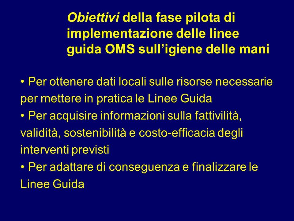 Obiettivi della fase pilota di implementazione delle linee guida OMS sull'igiene delle mani Per ottenere dati locali sulle risorse necessarie per mett