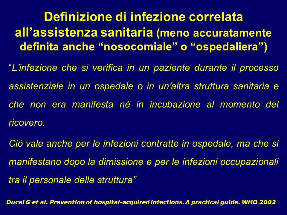 """Definizione di infezione correlata all'assistenza sanitaria (meno accuratamente definita anche """"nosocomiale"""" o """"ospedaliera"""") Ducel G et al. Preventio"""