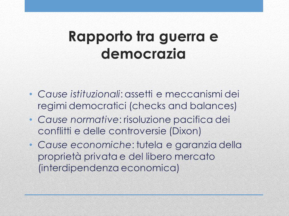 Rapporto tra guerra e democrazia Cause istituzionali: assetti e meccanismi dei regimi democratici (checks and balances) Cause normative: risoluzione p