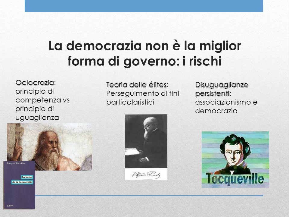 La democrazia non è la miglior forma di governo: i rischi Oclocrazia Oclocrazia: principio di competenza vs principio di uguaglianza Teoria delle élit