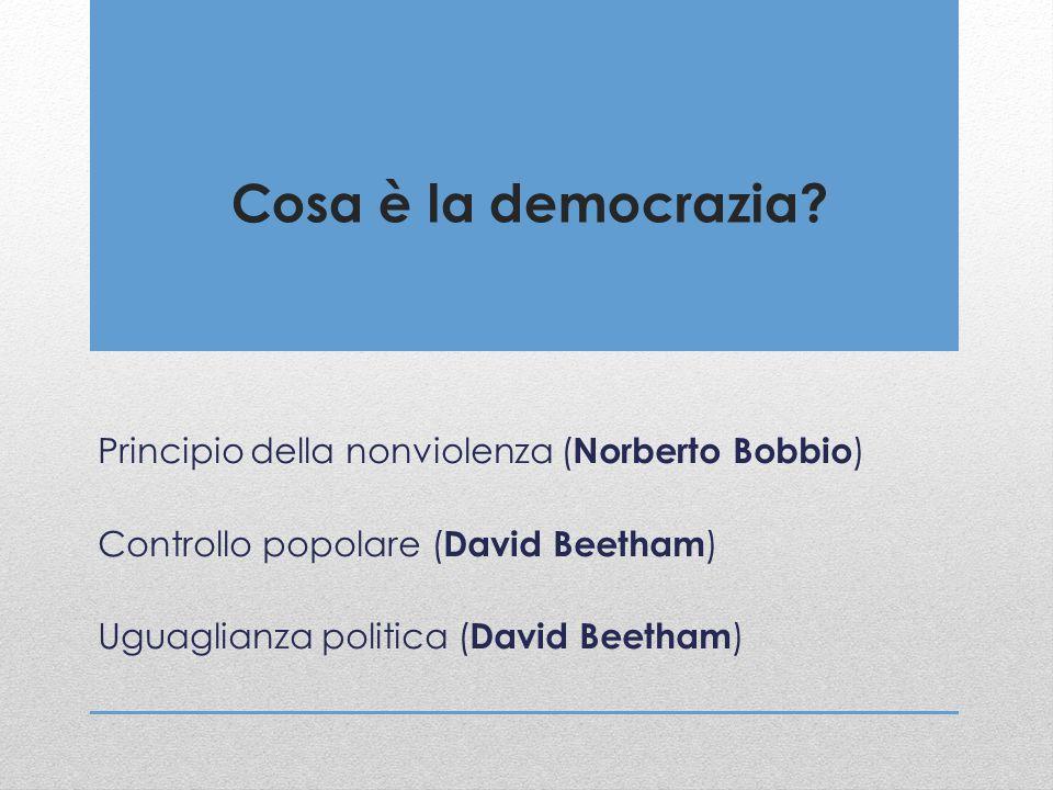 Cosa è la democrazia? Principio della nonviolenza ( Norberto Bobbio ) Controllo popolare ( David Beetham ) Uguaglianza politica ( David Beetham )