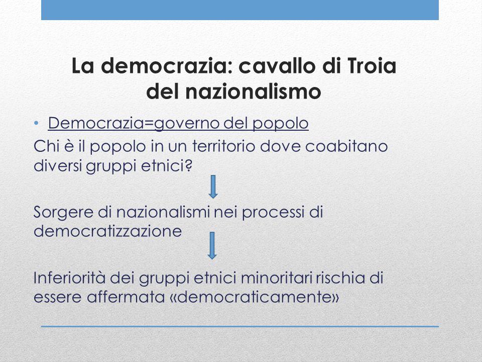 La democrazia: cavallo di Troia del nazionalismo Democrazia=governo del popolo Chi è il popolo in un territorio dove coabitano diversi gruppi etnici?