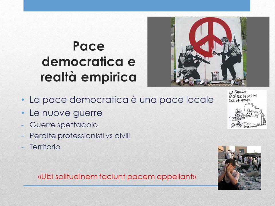 Pace democratica e realtà empirica La pace democratica è una pace locale Le nuove guerre -Guerre spettacolo -Perdite professionisti vs civili -Territo