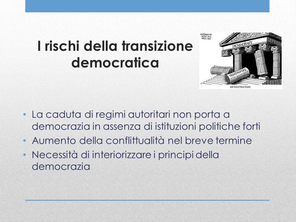 I rischi della transizione democratica La caduta di regimi autoritari non porta a democrazia in assenza di istituzioni politiche forti Aumento della c