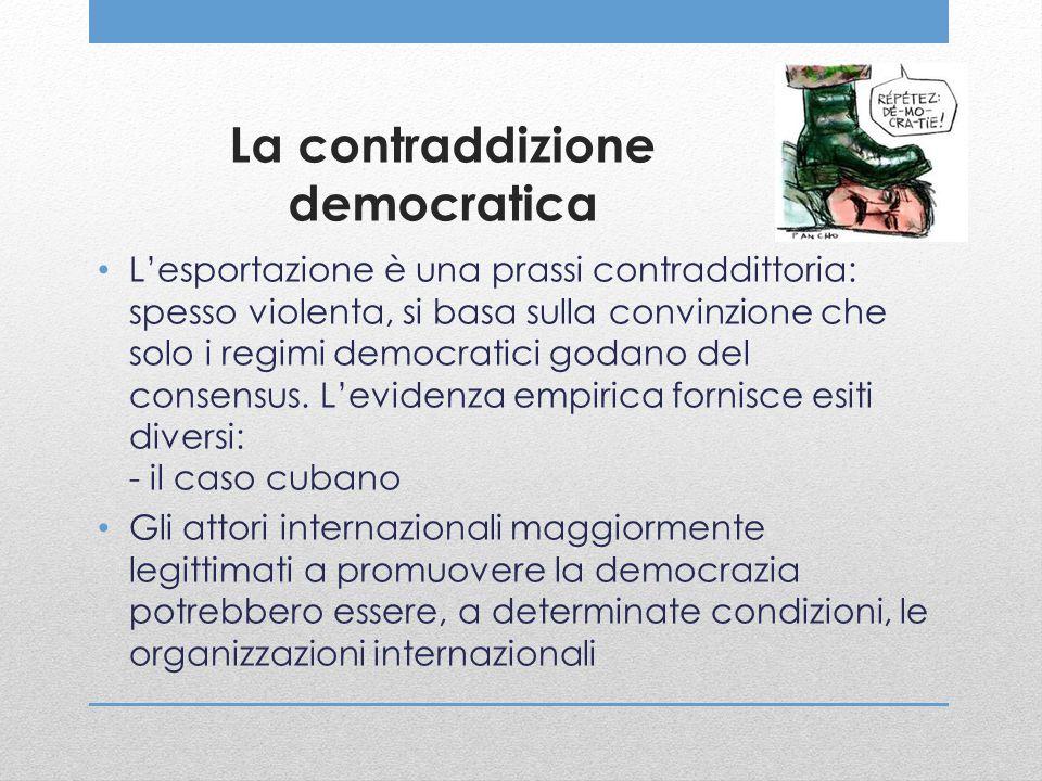 La contraddizione democratica L'esportazione è una prassi contraddittoria: spesso violenta, si basa sulla convinzione che solo i regimi democratici go