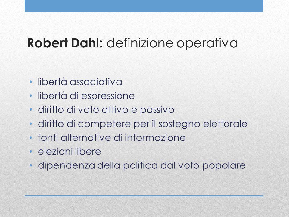 Robert Dahl: definizione operativa libertà associativa libertà di espressione diritto di voto attivo e passivo diritto di competere per il sostegno el