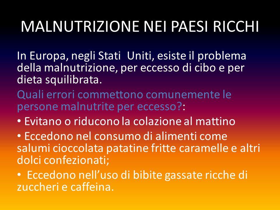 MALNUTRIZIONE NEI PAESI RICCHI In Europa, negli Stati Uniti, esiste il problema della malnutrizione, per eccesso di cibo e per dieta squilibrata.