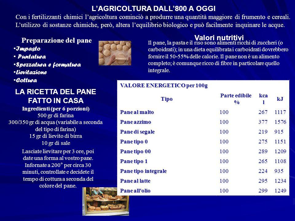 L'AGRICOLTURA DALL'800 A OGGI Con i fertilizzanti chimici l'agricoltura cominciò a produrre una quantità maggiore di frumento e cereali. L'utilizzo di
