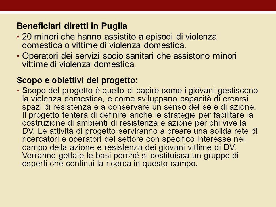 Beneficiari diretti in Puglia 20 minori che hanno assistito a episodi di violenza domestica o vittime di violenza domestica. Operatori dei servizi soc