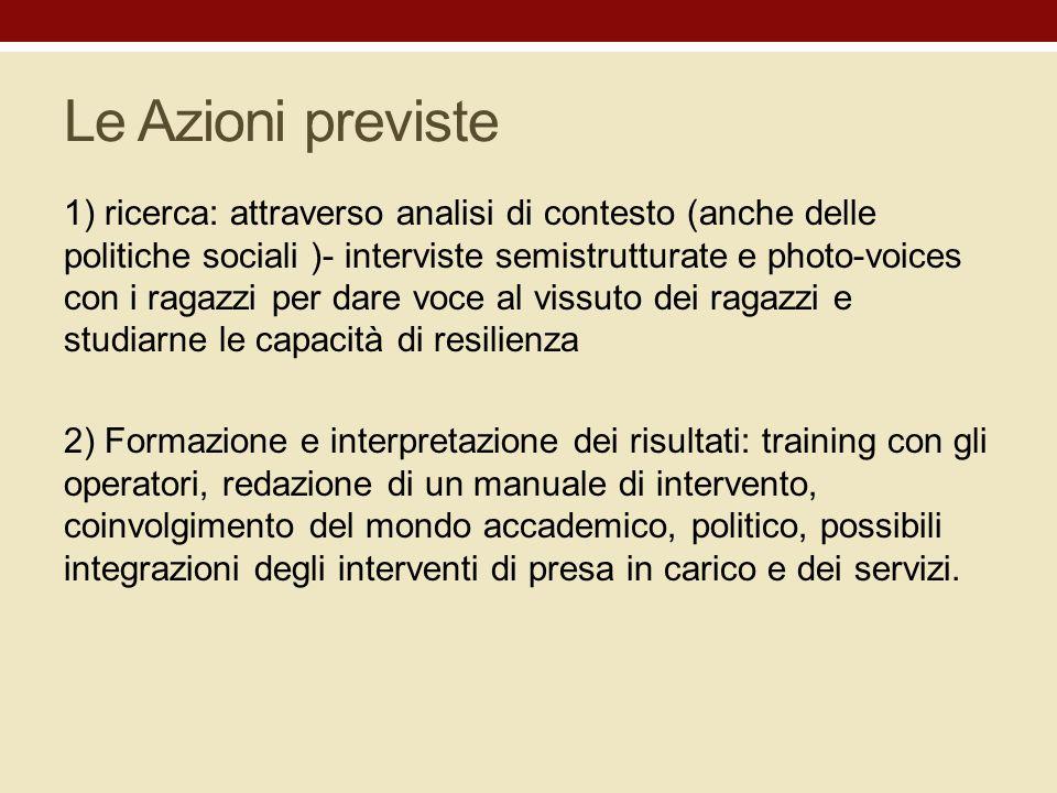 Le Azioni previste 1) ricerca: attraverso analisi di contesto (anche delle politiche sociali )- interviste semistrutturate e photo-voices con i ragazz