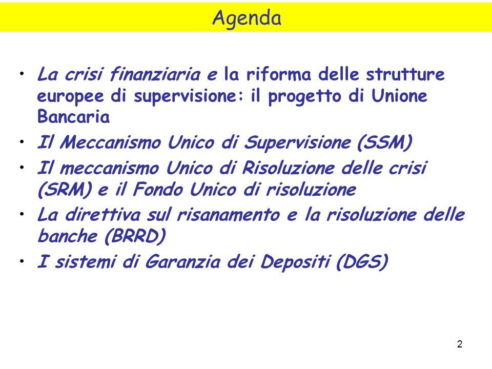 2 La crisi finanziaria e la riforma delle strutture europee di supervisione: il progetto di Unione Bancaria Il Meccanismo Unico di Supervisione (SSM)