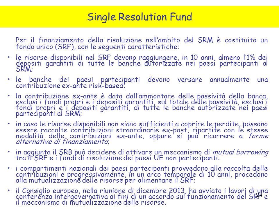 24 Per il finanziamento della risoluzione nell'ambito del SRM è costituito un fondo unico (SRF), con le seguenti caratteristiche: le risorse disponibi
