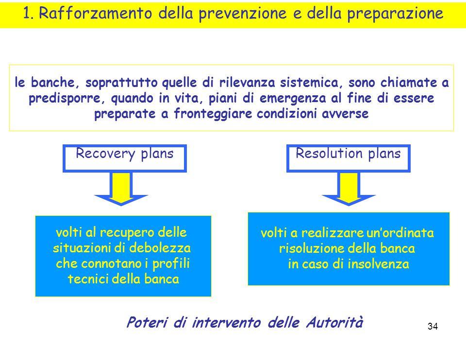 34 1. Rafforzamento della prevenzione e della preparazione le banche, soprattutto quelle di rilevanza sistemica, sono chiamate a predisporre, quando i