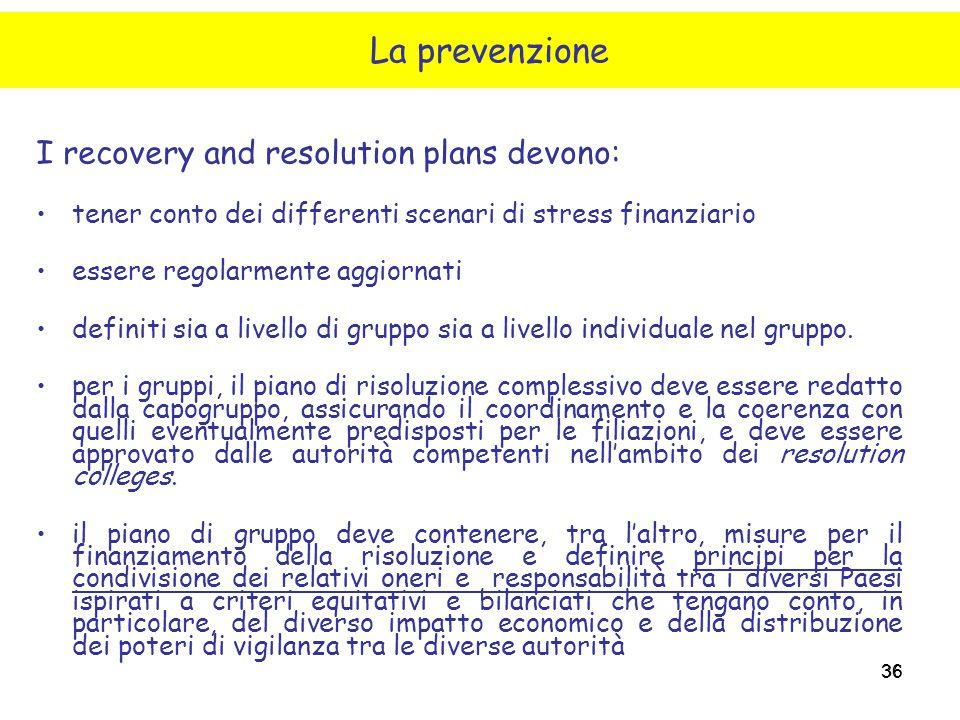 36 I recovery and resolution plans devono: tener conto dei differenti scenari di stress finanziario essere regolarmente aggiornati definiti sia a live