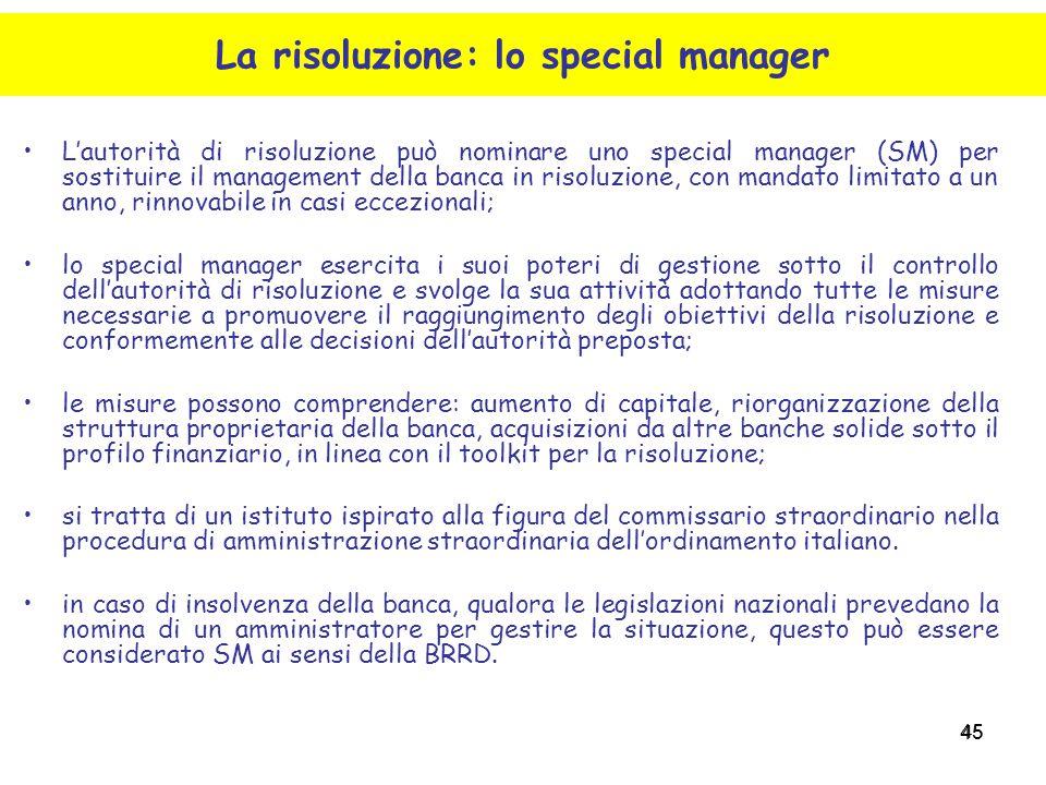 45 L'autorità di risoluzione può nominare uno special manager (SM) per sostituire il management della banca in risoluzione, con mandato limitato a un