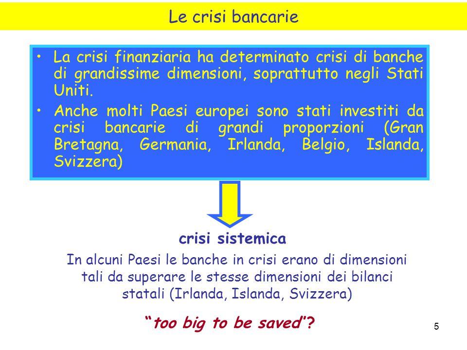 5 La crisi finanziaria ha determinato crisi di banche di grandissime dimensioni, soprattutto negli Stati Uniti. Anche molti Paesi europei sono stati i