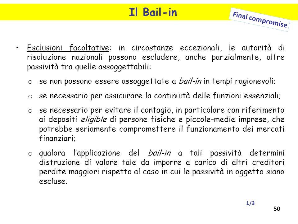 50 Il Bail-in Esclusioni facoltative: in circostanze eccezionali, le autorità di risoluzione nazionali possono escludere, anche parzialmente, altre pa