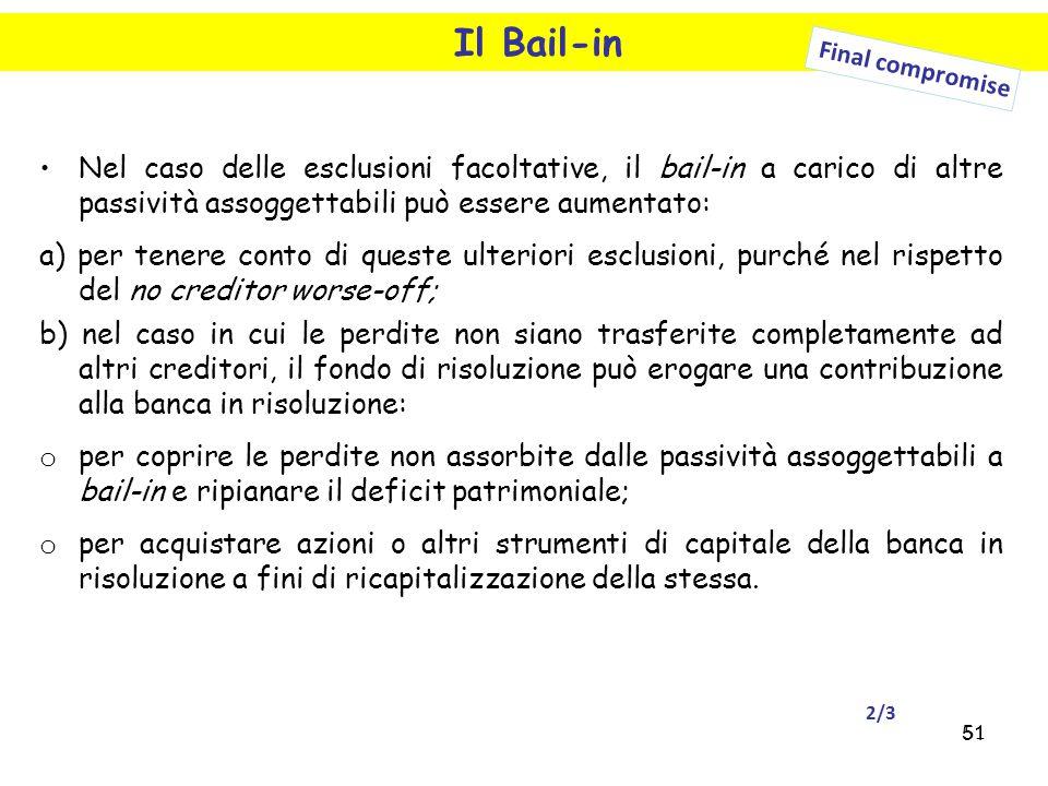 51 Il Bail-in Nel caso delle esclusioni facoltative, il bail-in a carico di altre passività assoggettabili può essere aumentato: a) per tenere conto d