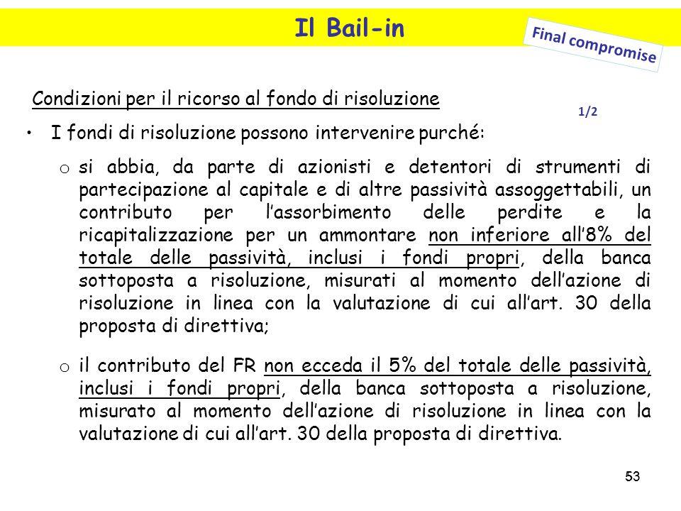 53 Il Bail-in Condizioni per il ricorso al fondo di risoluzione I fondi di risoluzione possono intervenire purché: o si abbia, da parte di azionisti e