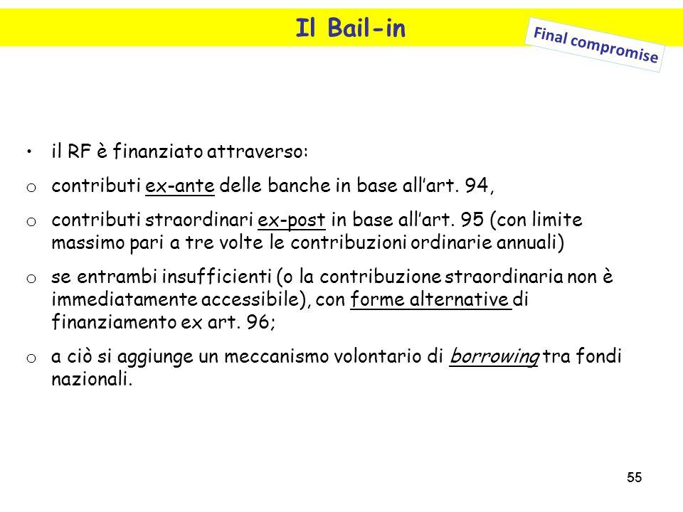55 Il Bail-in il RF è finanziato attraverso: o contributi ex-ante delle banche in base all'art. 94, o contributi straordinari ex-post in base all'art.