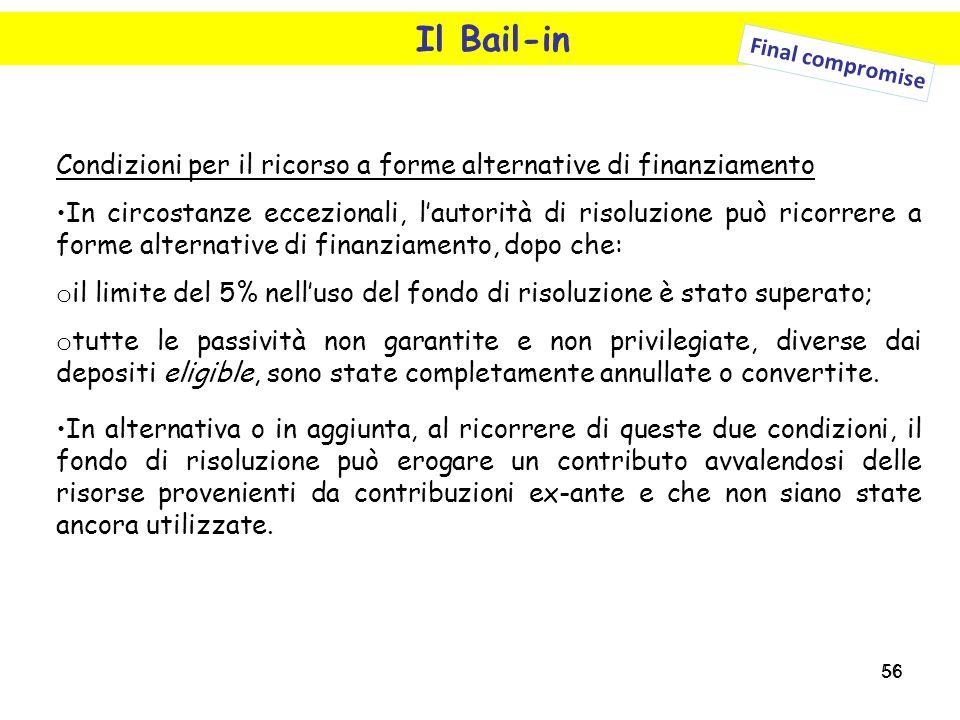 56 Il Bail-in Condizioni per il ricorso a forme alternative di finanziamento In circostanze eccezionali, l'autorità di risoluzione può ricorrere a for