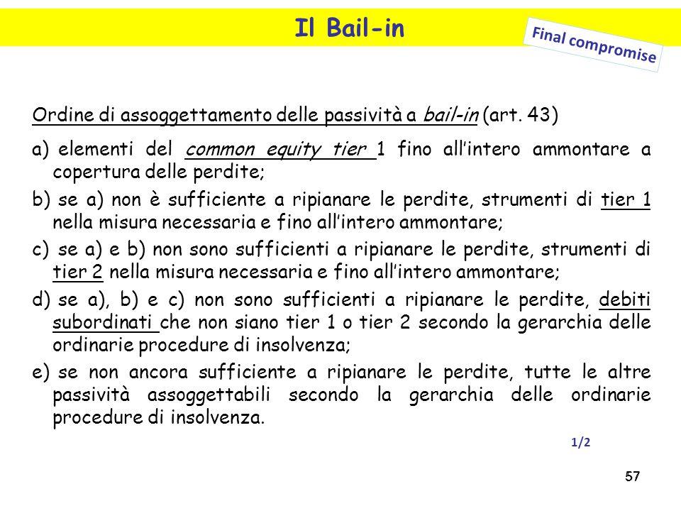 57 Il Bail-in Final compromise Ordine di assoggettamento delle passività a bail-in (art. 43) a) elementi del common equity tier 1 fino all'intero ammo