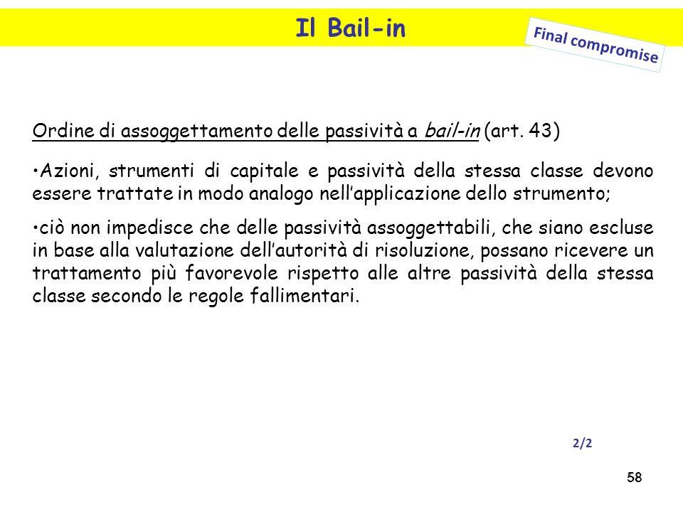 58 Il Bail-in Final compromise Ordine di assoggettamento delle passività a bail-in (art. 43) Azioni, strumenti di capitale e passività della stessa cl