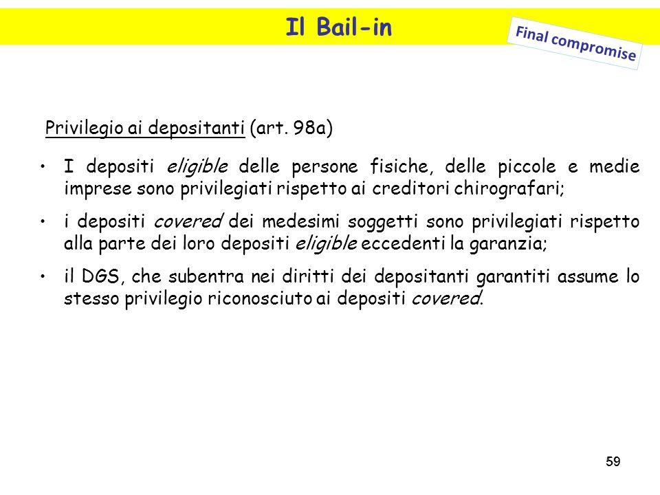 59 Il Bail-in Final compromise Privilegio ai depositanti (art. 98a) I depositi eligible delle persone fisiche, delle piccole e medie imprese sono priv