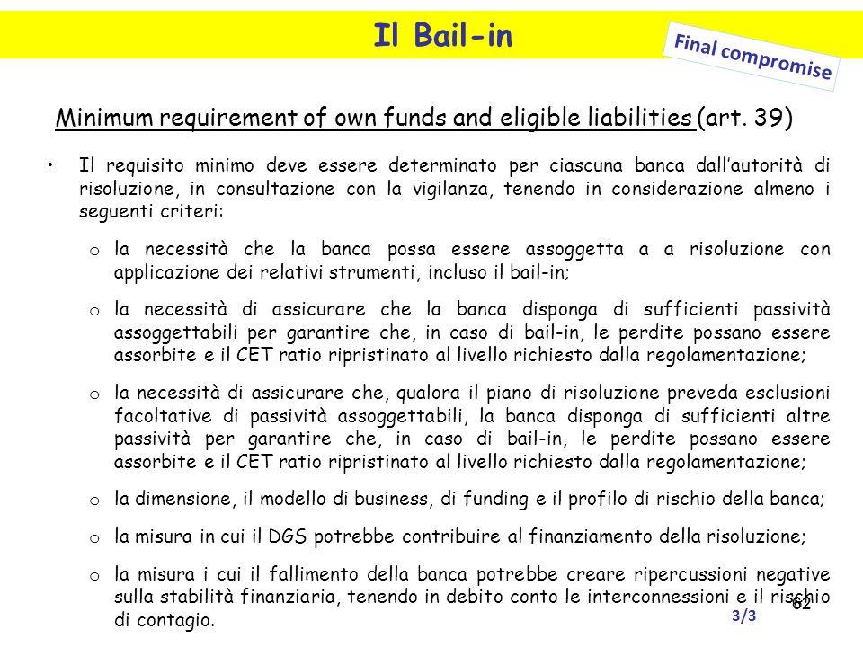 62 Il Bail-in Final compromise Minimum requirement of own funds and eligible liabilities (art. 39) Il requisito minimo deve essere determinato per cia