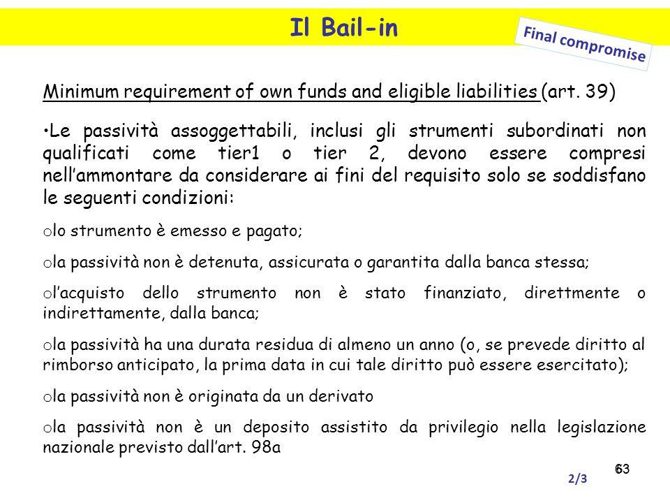 63 Il Bail-in Final compromise Minimum requirement of own funds and eligible liabilities (art. 39) Le passività assoggettabili, inclusi gli strumenti