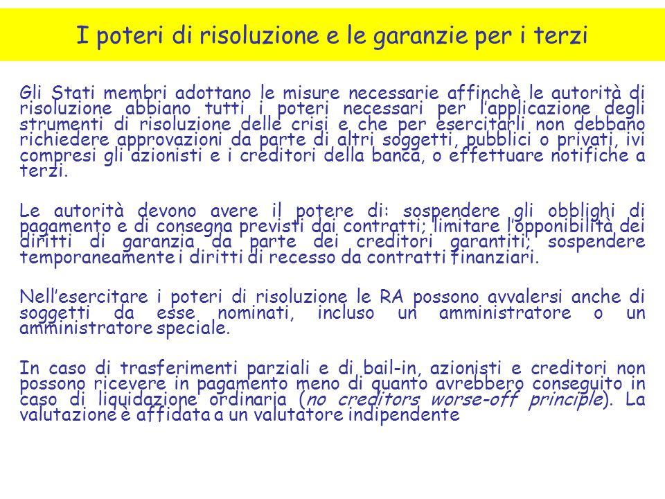 Gli Stati membri adottano le misure necessarie affinchè le autorità di risoluzione abbiano tutti i poteri necessari per l'applicazione degli strumenti