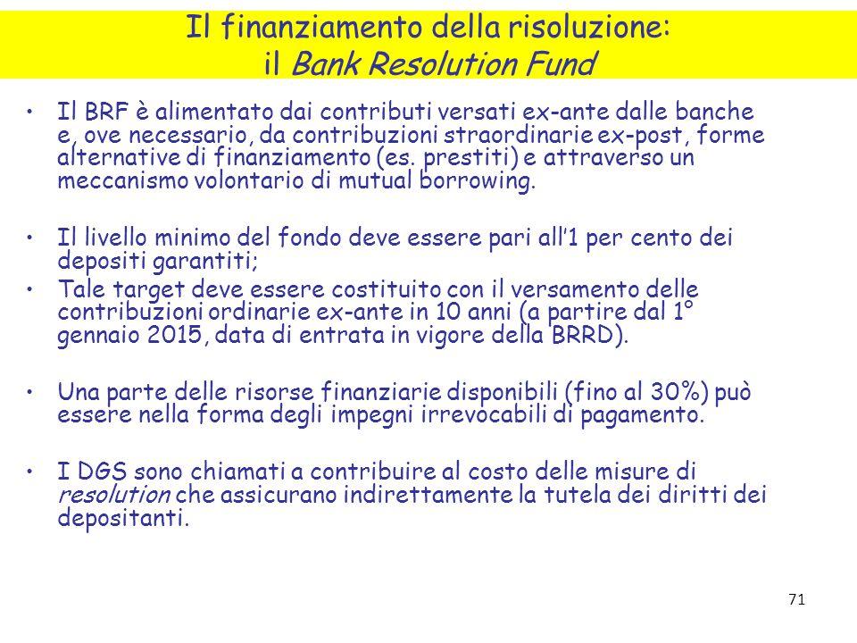 71 Il BRF è alimentato dai contributi versati ex-ante dalle banche e, ove necessario, da contribuzioni straordinarie ex-post, forme alternative di fin