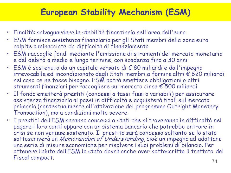 74 Finalità: salvaguardare la stabilità finanziaria nell'area dell'euro ESM fornisce assistenza finanziaria per gli Stati membri della zona euro colpi