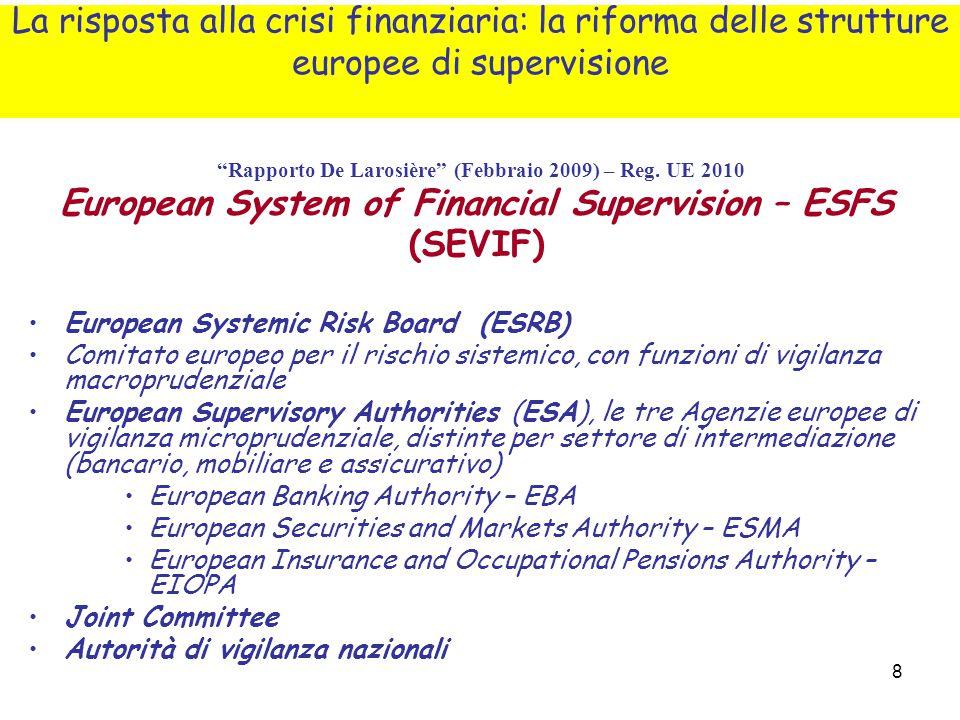 "8 ""Rapporto De Larosière"" (Febbraio 2009) – Reg. UE 2010 European System of Financial Supervision – ESFS (SEVIF) European Systemic Risk Board (ESRB) C"