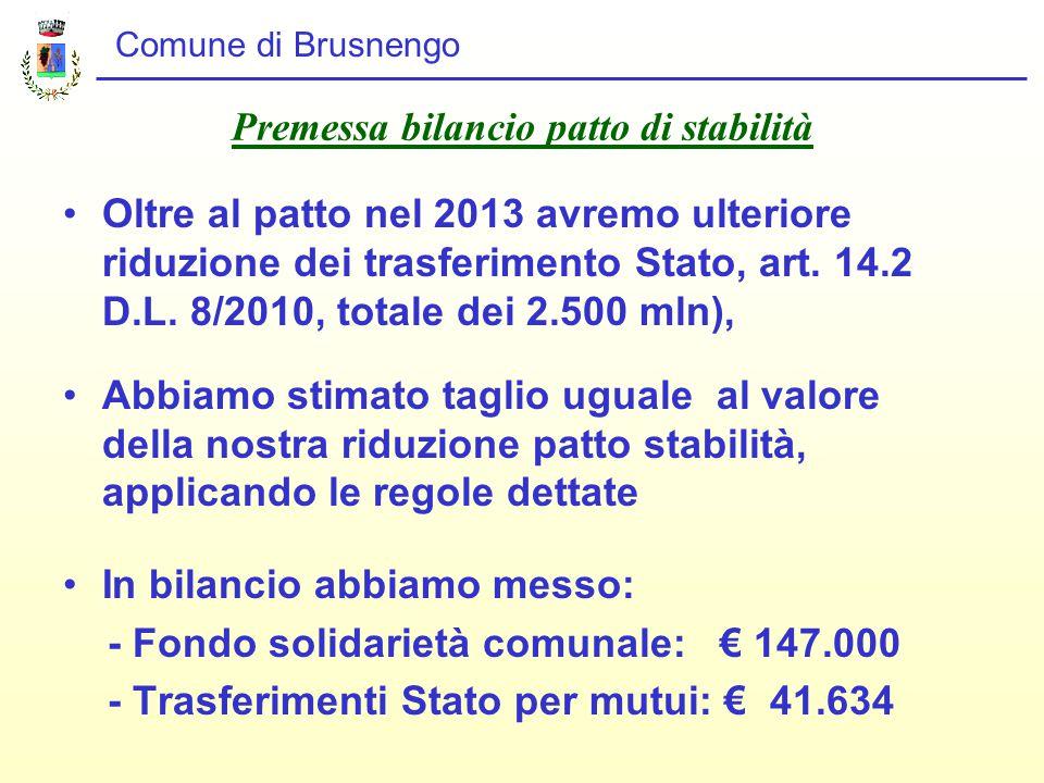 Comune di Brusnengo Premessa bilancio patto di stabilità Oltre al patto nel 2013 avremo ulteriore riduzione dei trasferimento Stato, art.