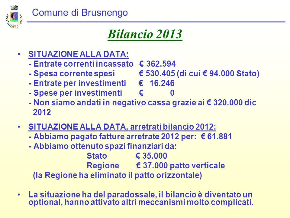 Comune di Brusnengo Bilancio 2013 SITUAZIONE ALLA DATA: - Entrate correnti incassato € 362.594 - Spesa corrente spesi € 530.405 (di cui € 94.000 Stato) - Entrate per investimenti € 16.246 - Spese per investimenti € 0 - Non siamo andati in negativo cassa grazie ai € 320.000 dic 2012 SITUAZIONE ALLA DATA, arretrati bilancio 2012: - Abbiamo pagato fatture arretrate 2012 per: € 61.881 - Abbiamo ottenuto spazi finanziari da: Stato € 35.000 Regione € 37.000 patto verticale (la Regione ha eliminato il patto orizzontale) La situazione ha del paradossale, il bilancio è diventato un optional, hanno attivato altri meccanismi molto complicati.